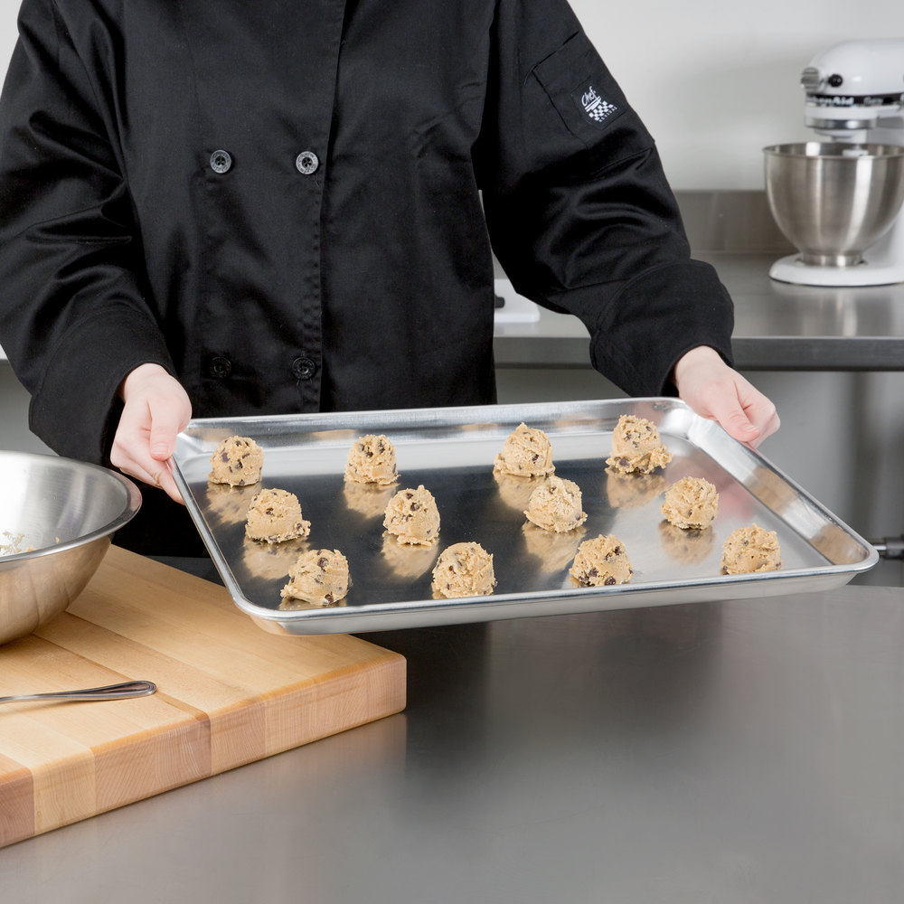 "Baker's Mark 18"" x 13"" Half Size 19 Gauge Wire in Rim Aluminum Bun / Sheet Pan"