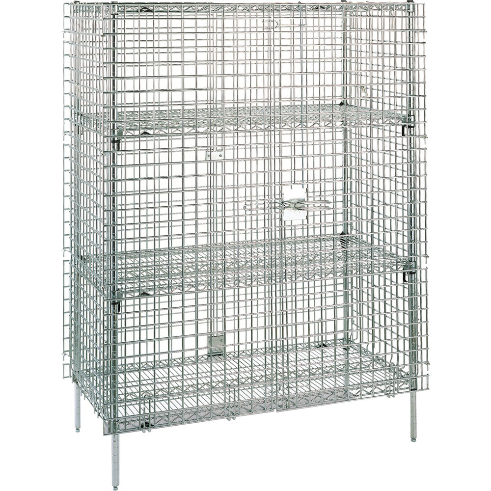 "Metro SEC66S Stainless Steel Stationary Wire Security Cabinet 62 1/2"" x 33 1/2"" x 66 13/16"""
