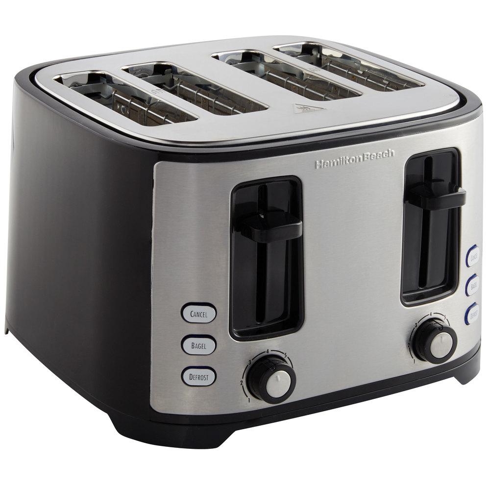 Hamilton Beach Extra Wide Slot 4 Slice Toaster: Hamilton Beach 24633 Extra-Wide Slot 4 Slice Bagel Toaster