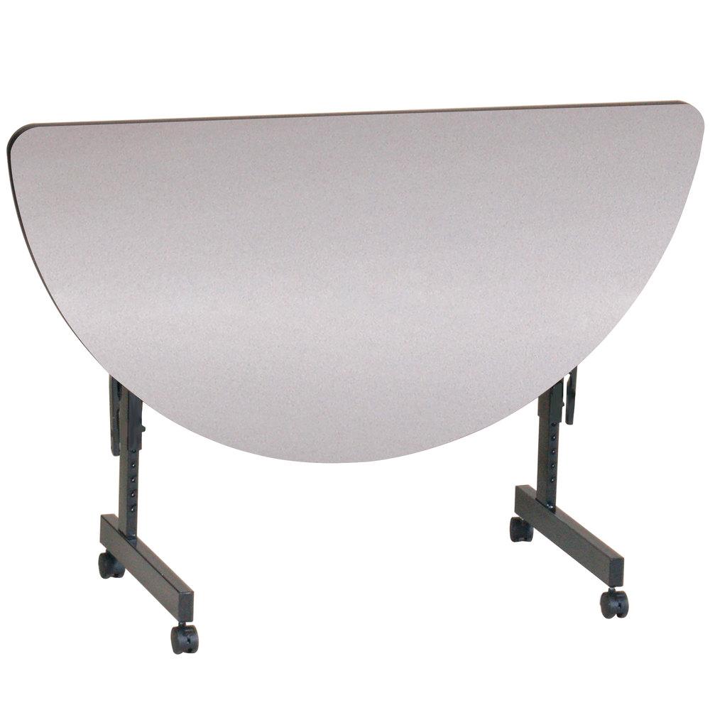 correll econoline mobile half round flip top table 24 x. Black Bedroom Furniture Sets. Home Design Ideas