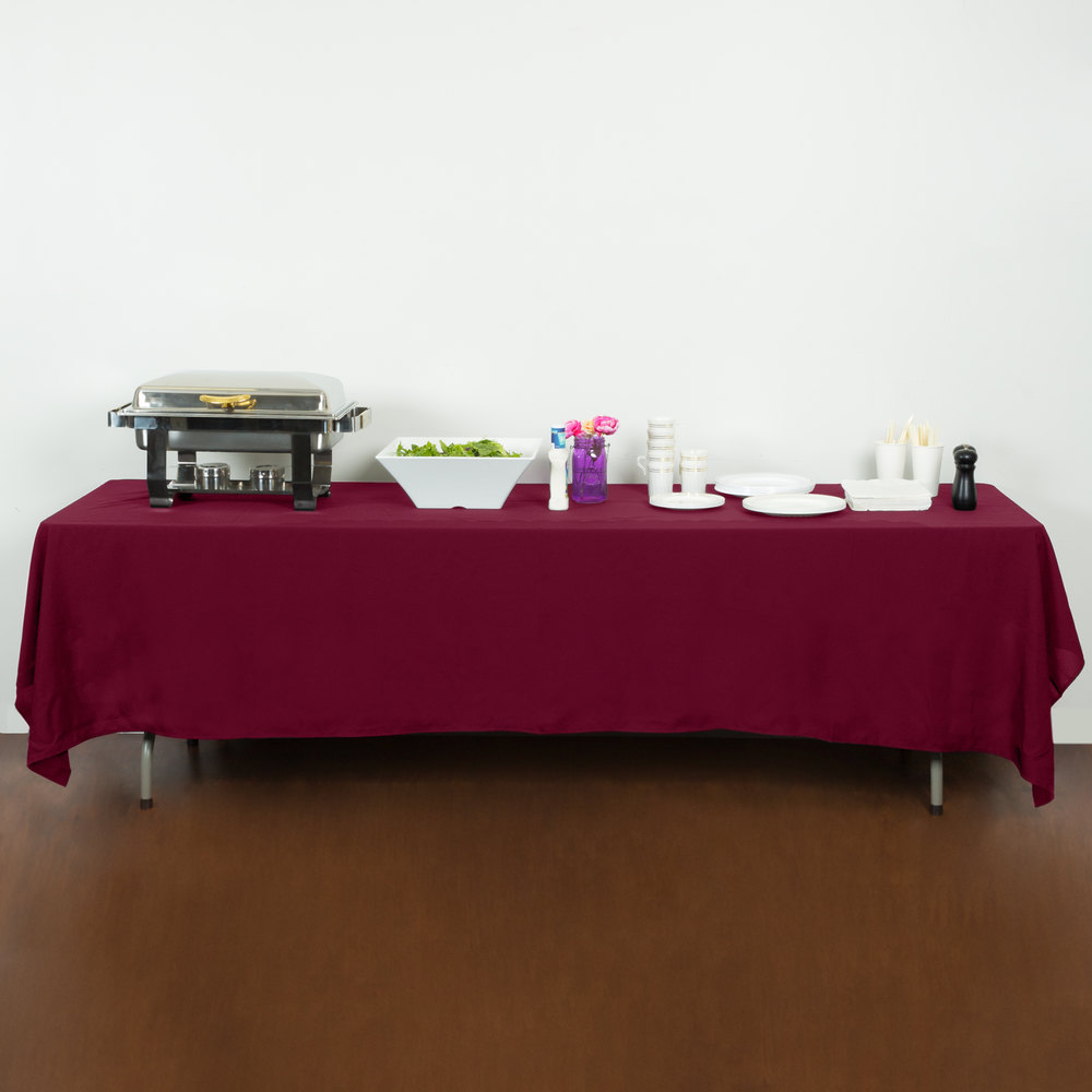 "72"" x 120"" Mauve 100% Polyester Hemmed Cloth Table Cover"