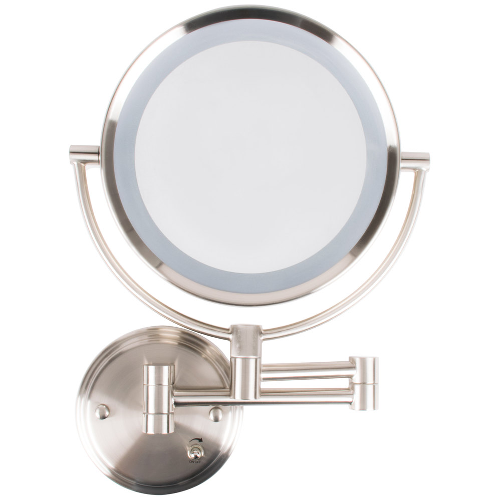 Conair be11wd wall mount mirror lighted brushed nickel for Wall mounted mirror