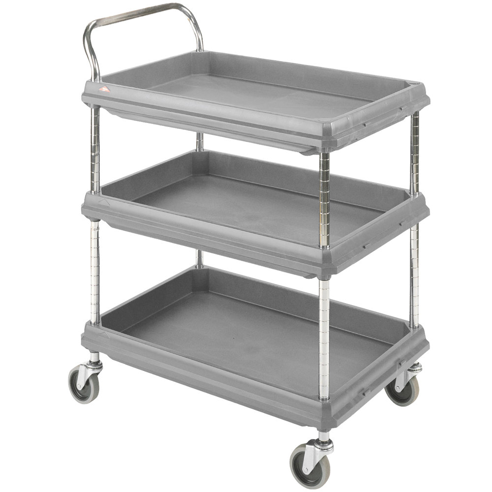 "Metro BC2636-3DG Gray Utility Cart with Three Deep Ledge Shelves 38 3/4"" x 27"""