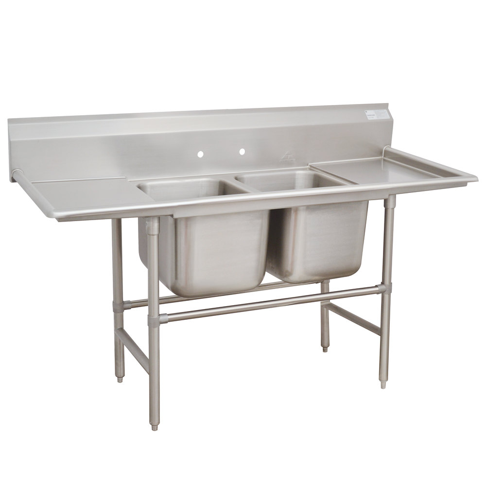 Advance Tabco 94-2-36-18RL Spec Line Two Compartment Pot Sink with Two Drainboards - 72""