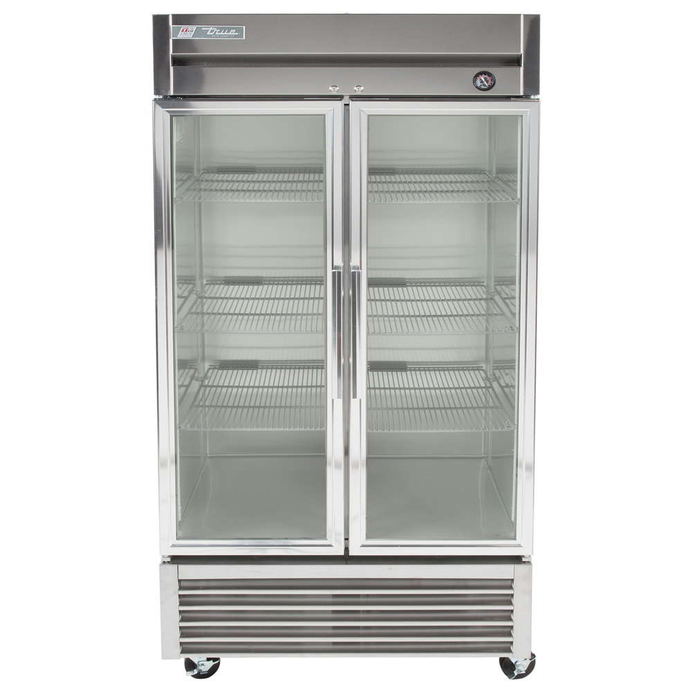 "True T-35G-LD 40"" Two Glass Door Reach In Refrigerator with LED Lighting"