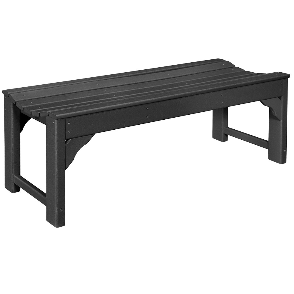 Swell Polywood Bab148Bl Black 46 X 20 Traditional Garden Backless Bench Pabps2019 Chair Design Images Pabps2019Com