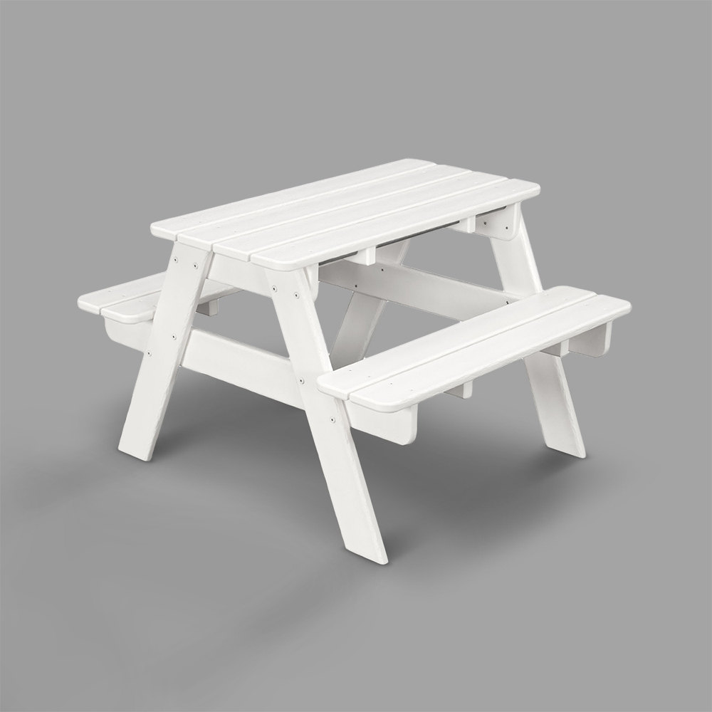 Polywood Kt130wh White 30 X 33 Kids Picnic Table With Seating
