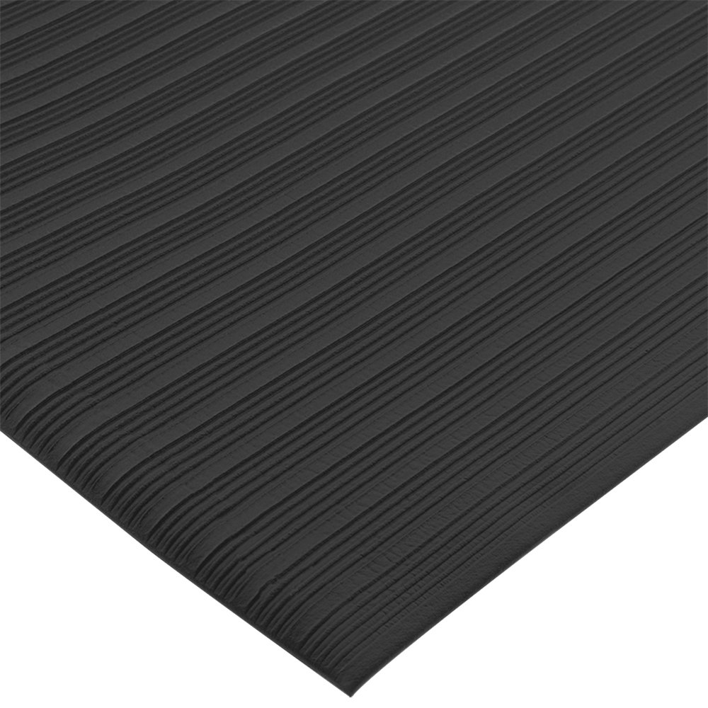 "San Jamar KM4360BK 3' x 60' Black Anti-Fatigue Vinyl Sponge Floor Mat Roll - 3/8"" Thick"