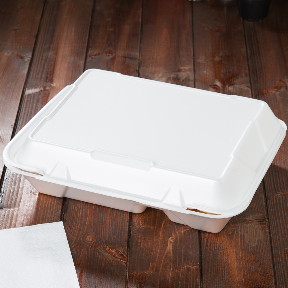 "Genpak SN272 13"" x 10"" x 3"" White Foam 2 Compartment Hinged Lid Container 200 / Case"
