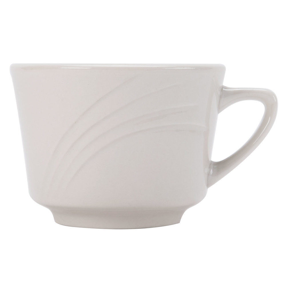 CAC GAD-1 Garden State 7 oz. Bone White Porcelain Coffee Cup - 36 / Case