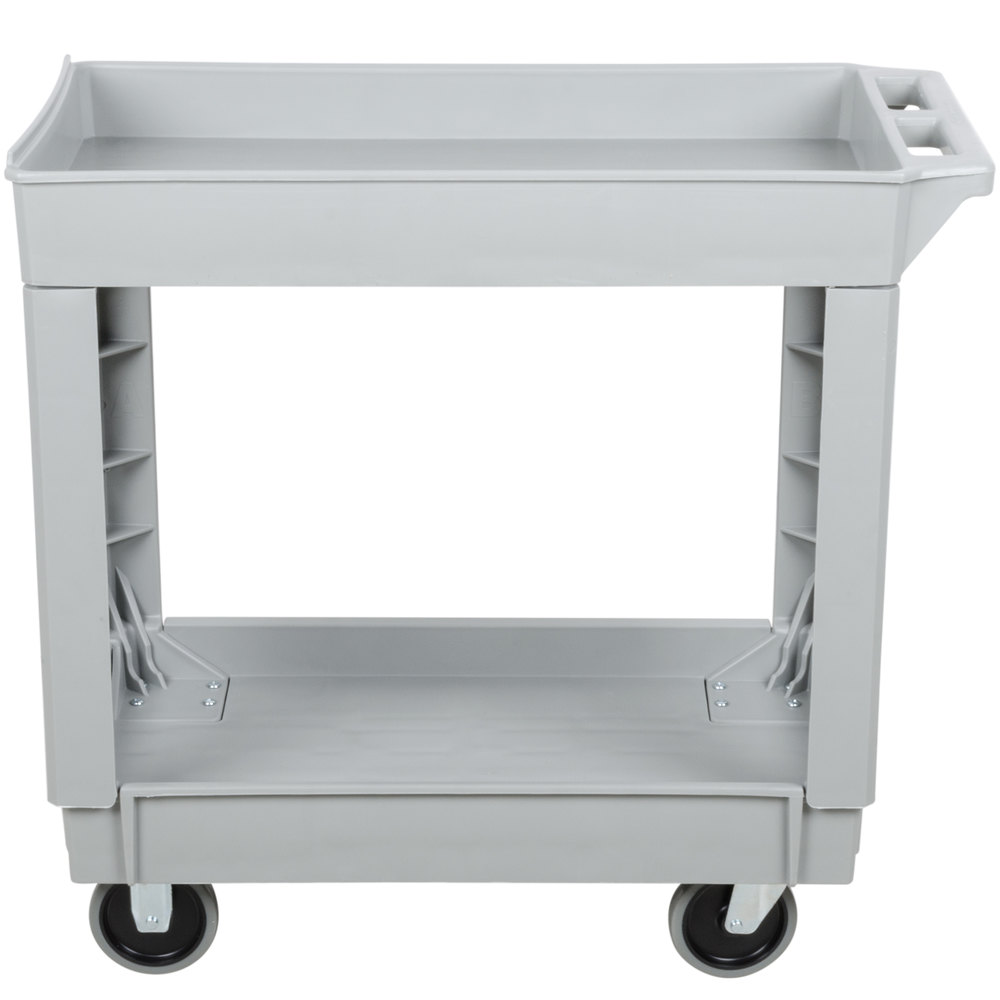 "Continental 5800GY 34"" x 17"" Gray Utility Cart with 2-Shelf Recessed Top"