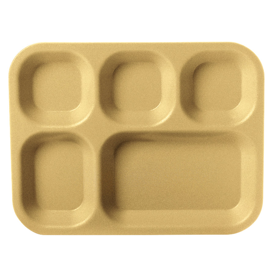 "Carlisle PCD80125 10"" x 14"" Tan 5 Compartment Polycarbonate Tray"