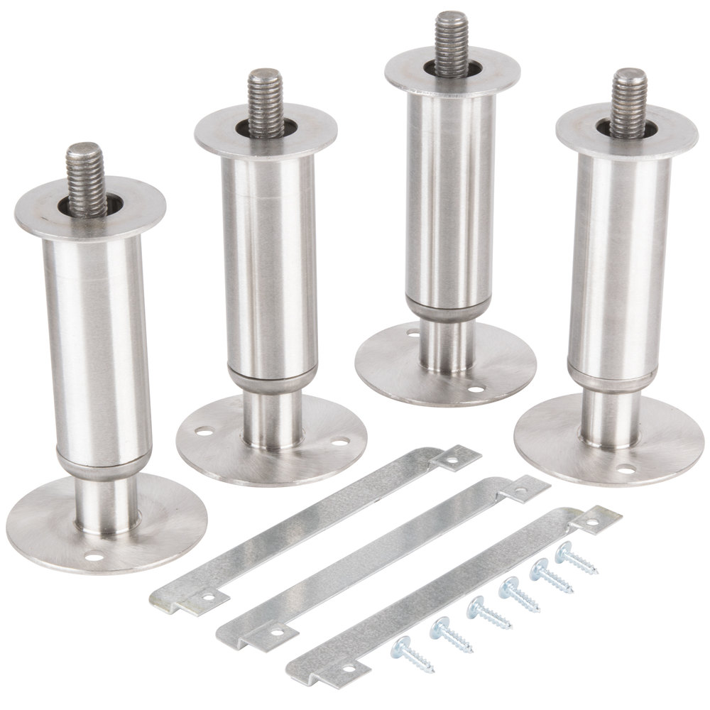 "Manitowoc K-00145 6"" Adjustable Secured Stainless Steel Flanged Feet - 4/Set"