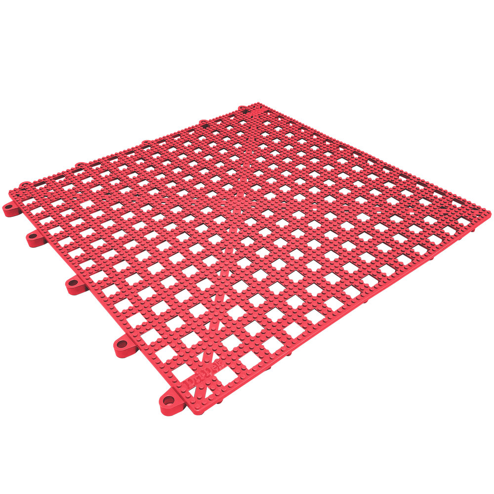 "Cactus Mat 2554-RT Dri-Dek 12"" x 12"" Red Vinyl Interlocking Drainage Floor Tile - 9/16"" Thick"