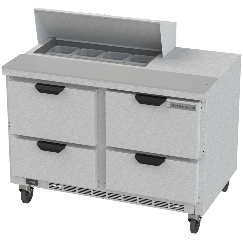 """Coffee Table With Fridge Drawer: Beverage-Air SPED48HC-08-4 48"""" 4 Drawer Refrigerated"""