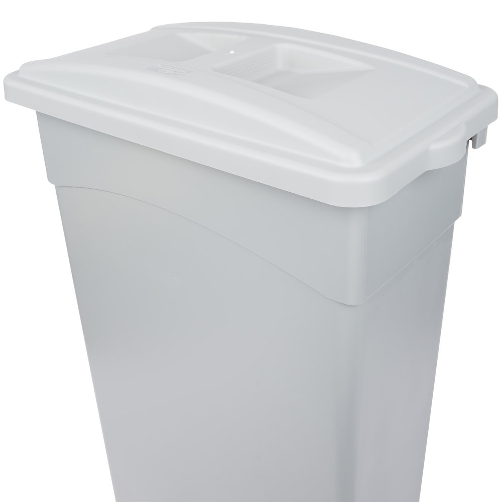 Continental 7315GY Wall Hugger Gray Recycle Lid with Handles