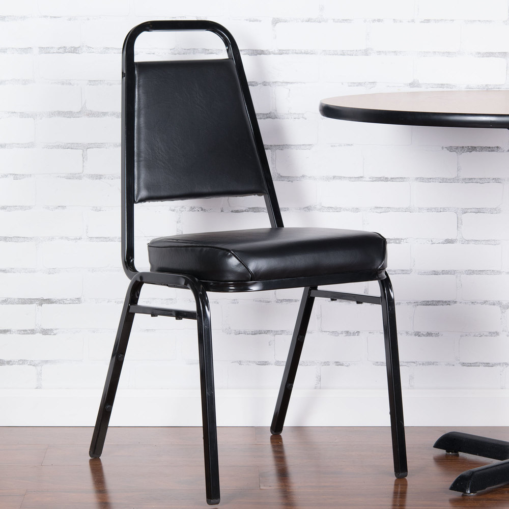 """Black Stackable Chairs lancaster table & seating black stackable chair with 2"""" padded seat"""