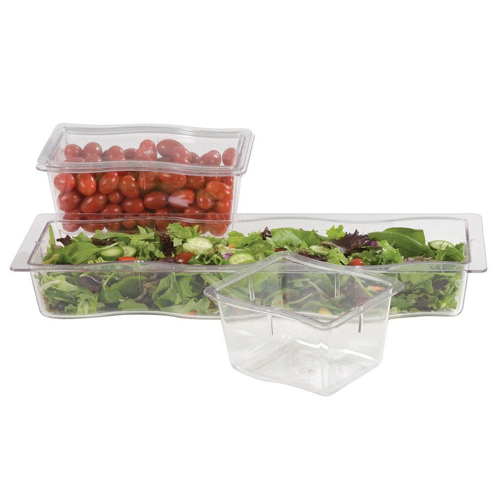 Carlisle 698607 Modular Displayware 1/3 Size Clear Wavy Edge Food Pan - 6/Case