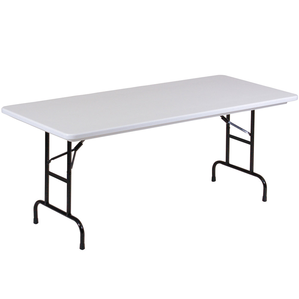 "Correll Adjustable Height Folding Table 30"" x 72"" Plastic"