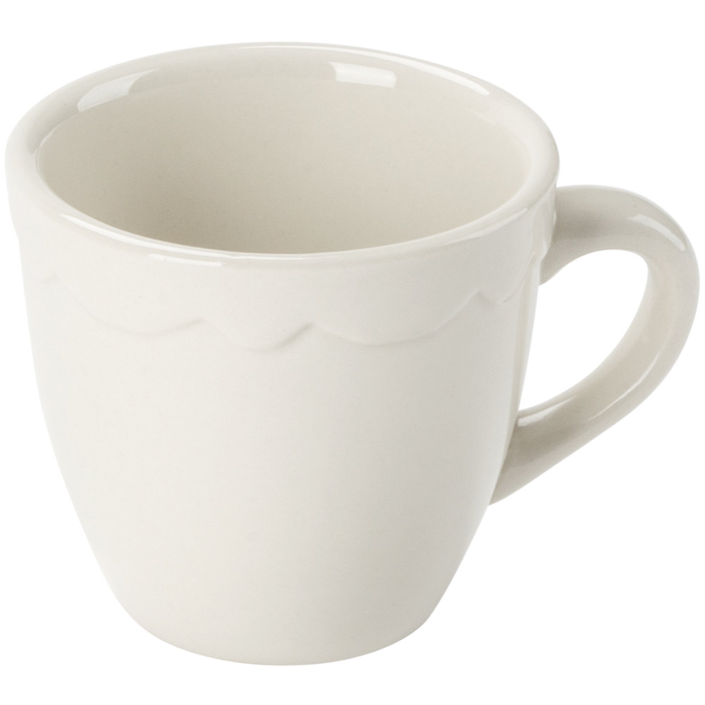 3.5 oz. Ivory (American White) Scalloped Edge China Demitasse Cup - 36/Case