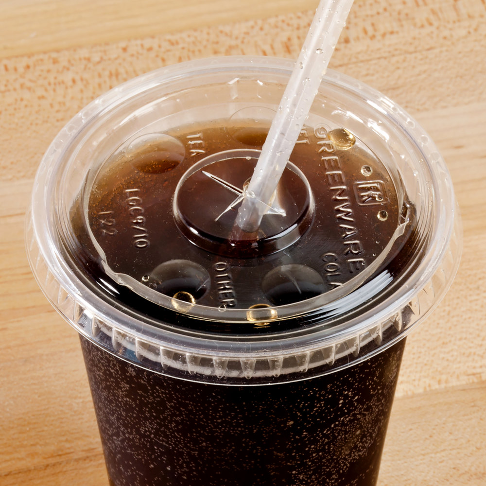 Fabri-Kal Greenware LGC9/10 Compostable Clear Plastic Lid with Straw Slot - 100/Pack