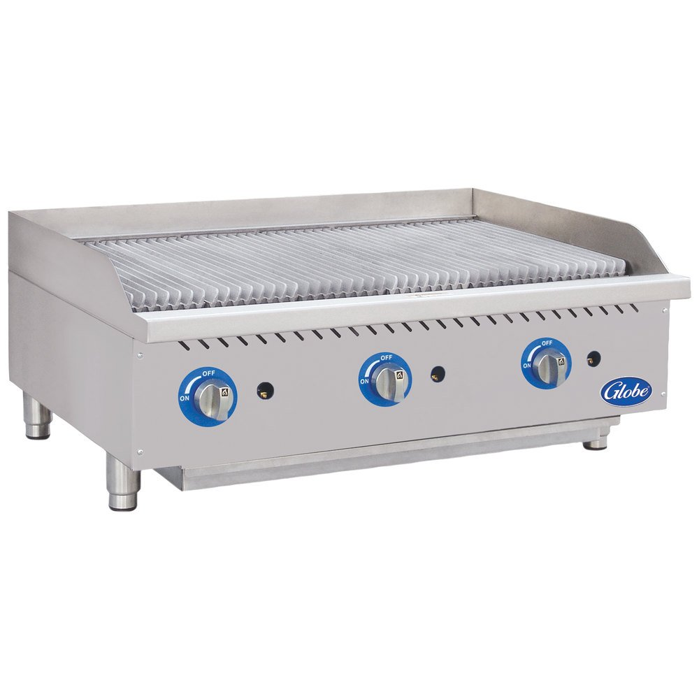 "Globe GCB36G-CR 36"" Gas Charbroiler with Cast Iron Radiants - 120,000 BTU"