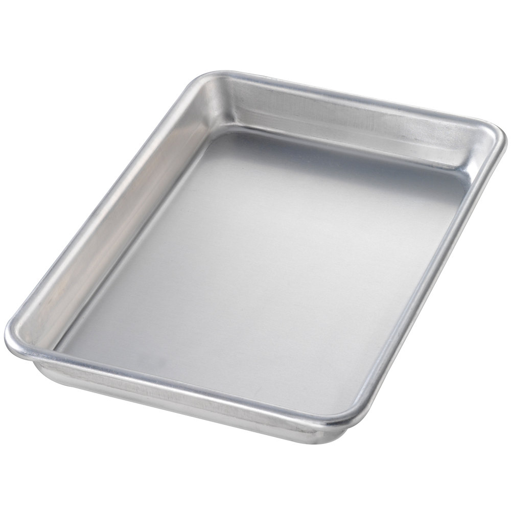 "Chicago Metallic 41800 Eighth Size 16 Gauge Aluminum Sheet Pan - Curled Rim, No Wire, 6 1/2"" x 9 1/2"""