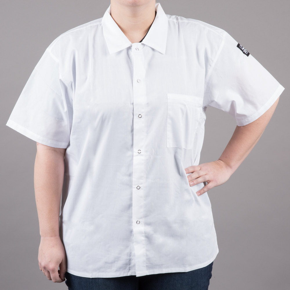 Chef Revival CS006WH-L Size 44-46 (L) White Customizable Short Sleeve Cook Shirt - Poly-Cotton Blend
