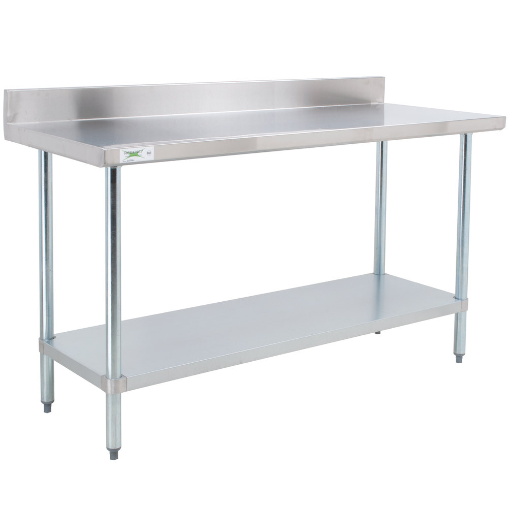 Regency 30 x 72 18 gauge 304 stainless steel commercial work table with 4 backsplash and - Steel kitchen tables ...