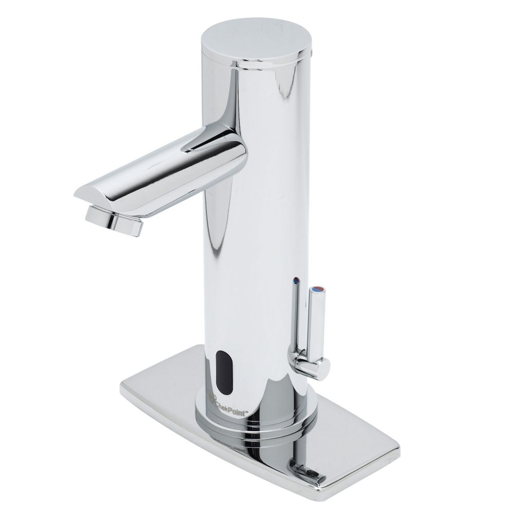 "T&S EC-3122-4DP Deck Mount ChekPoint Automatic Hands Free Faucet with 144"" Long Power Cord and 4"" Deck Plate"