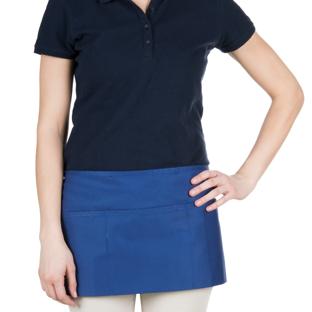 "Choice 12"" x 26"" Royal Blue Front of the House Waist Apron"