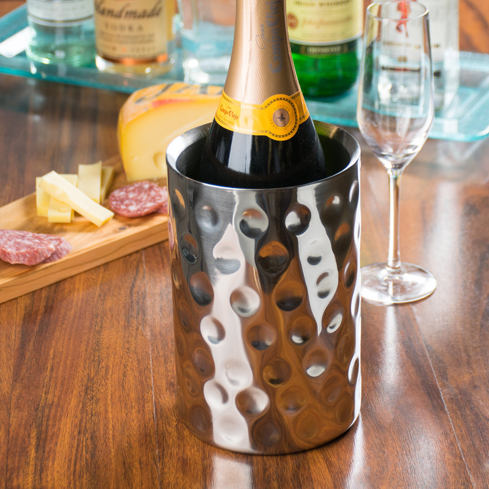 "Tablecraft R37 Bali Round Double Wall Stainless Steel Wine Cooler - 4 3/4"" x 7 1/4"""