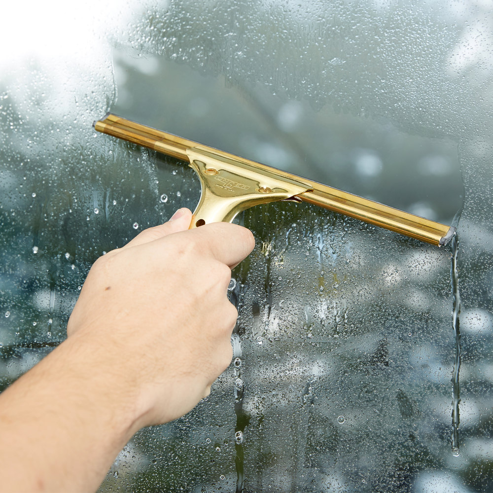 "Unger GS250 GoldenClip Complete Brass 10"" Window Squeegee"