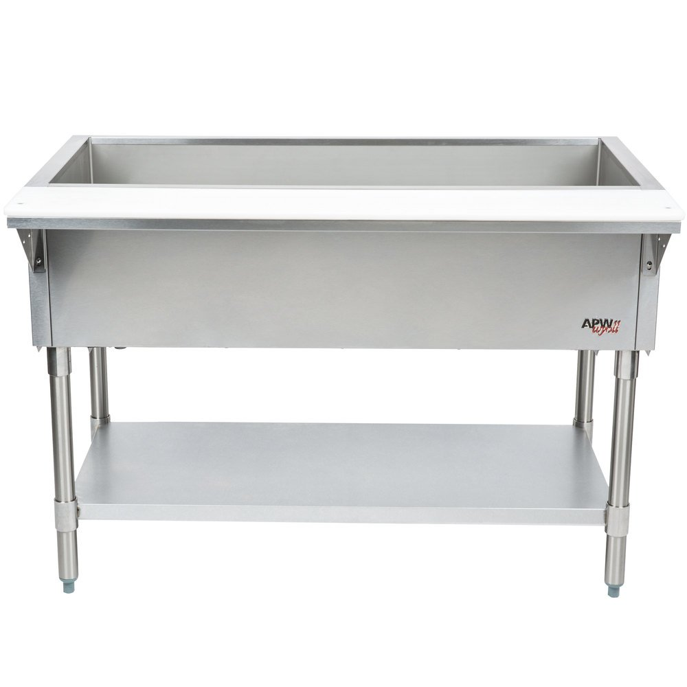 APW Wyott CT-4S Four Pan Stationary Cold Food Table with Stainless Steel Legs and Undershelf