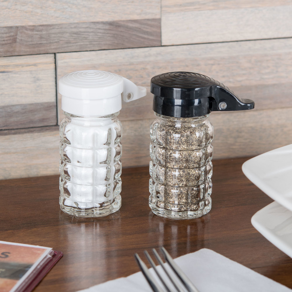 Tablecraft 163MPBK 1.5 oz. Glass Shaker with Black Moisture Proof ABS Top - 24 / Case