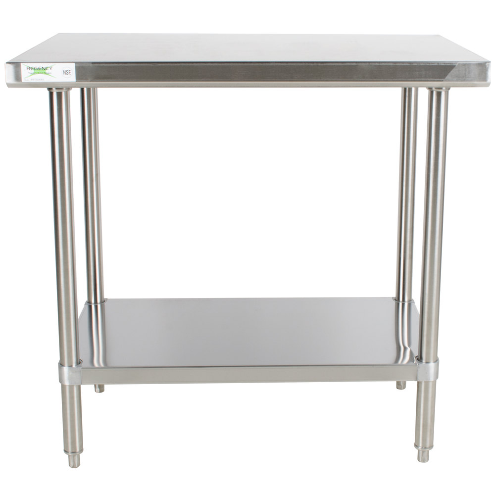 regency  x  gauge  stainless steel commercial work  - regency  x  gauge  stainless steel commercial work table withundershelf