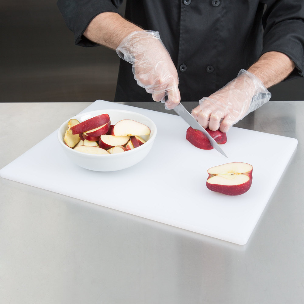 "15"" x 20"" x 1/2"" White Poly Cutting Board"