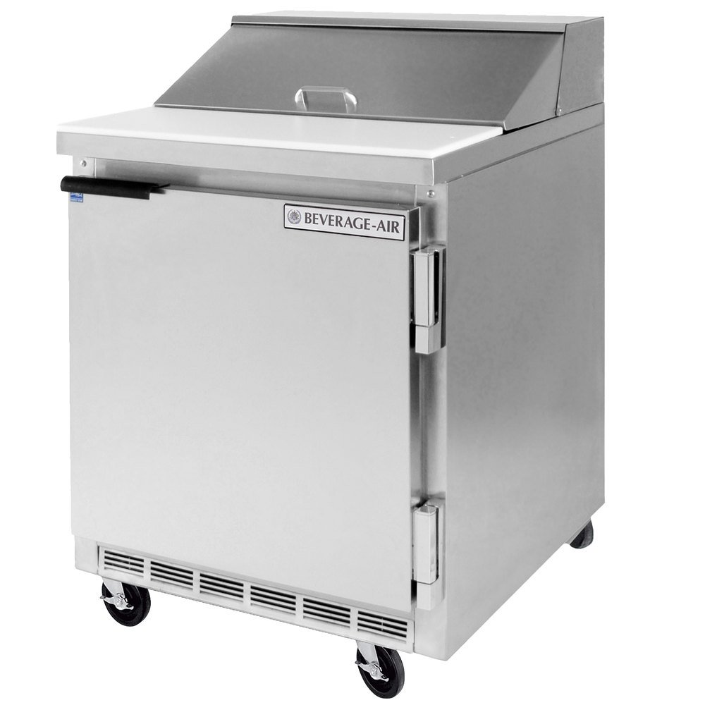"Beverage Air SPE27C-B 27"" Refrigerated Salad / Sandwich Prep Table with Cutting Top"