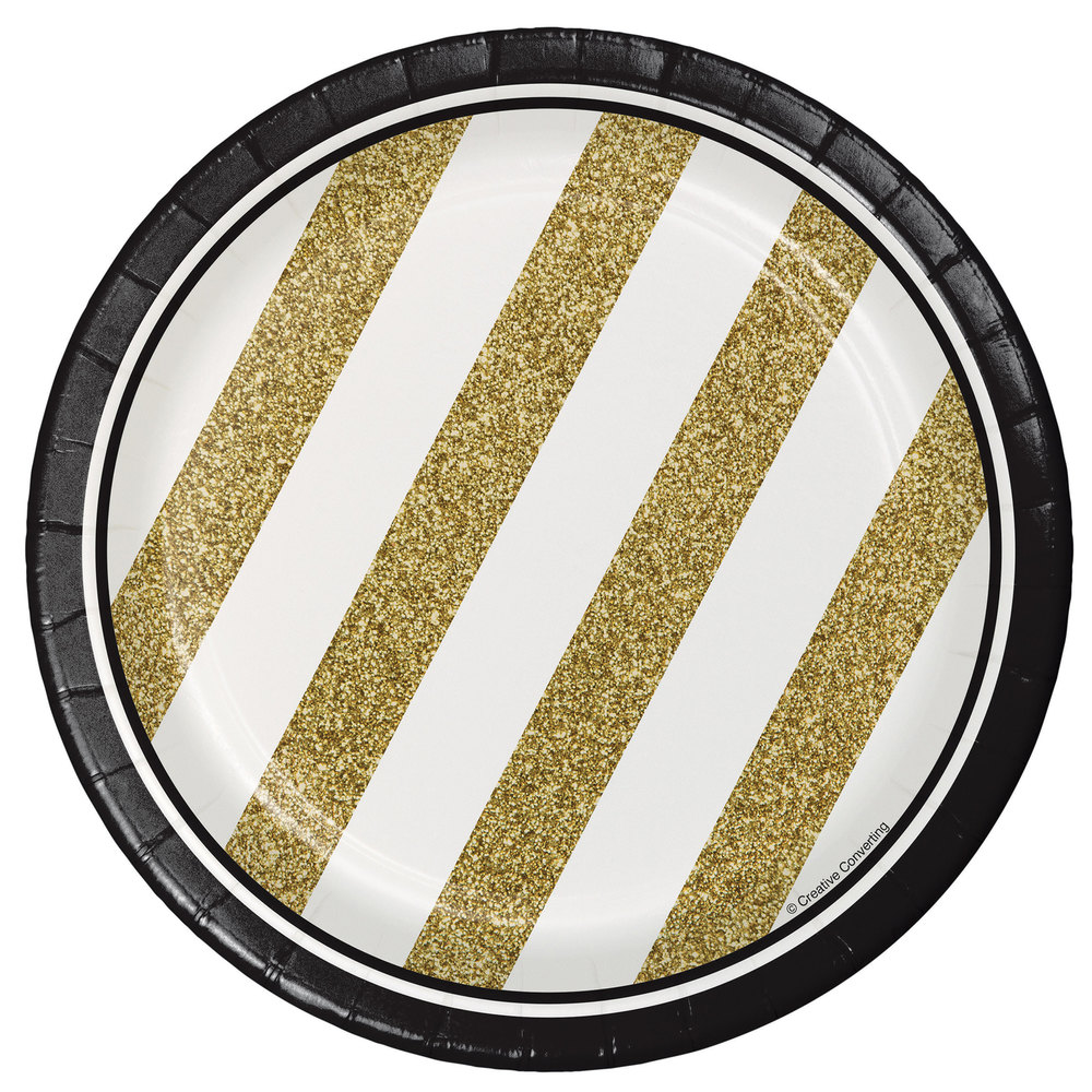 """Creative Converting 317547 7"""" Black And Gold Paper Plate"""