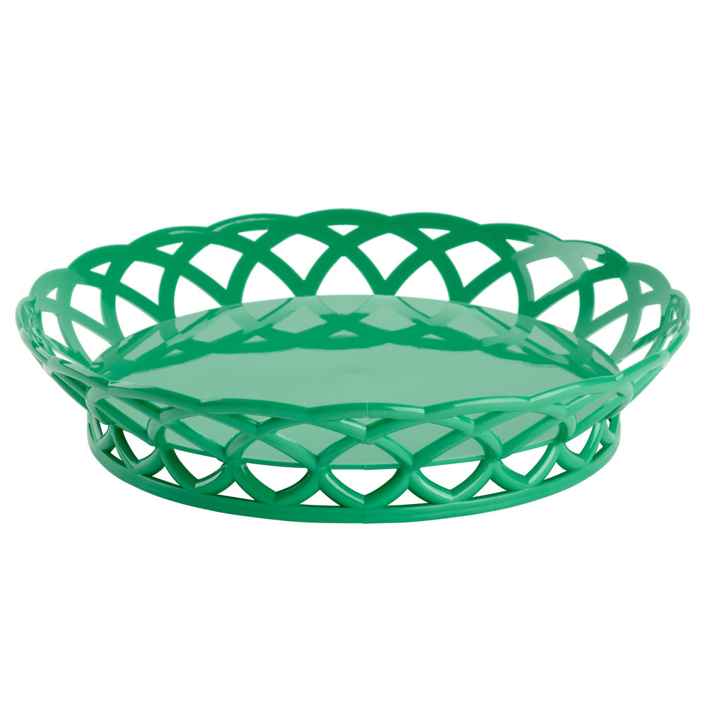"GET RB-860-FG Forest Green Round 10 1/2"" Plastic Fast Food Basket - 12/Pack"