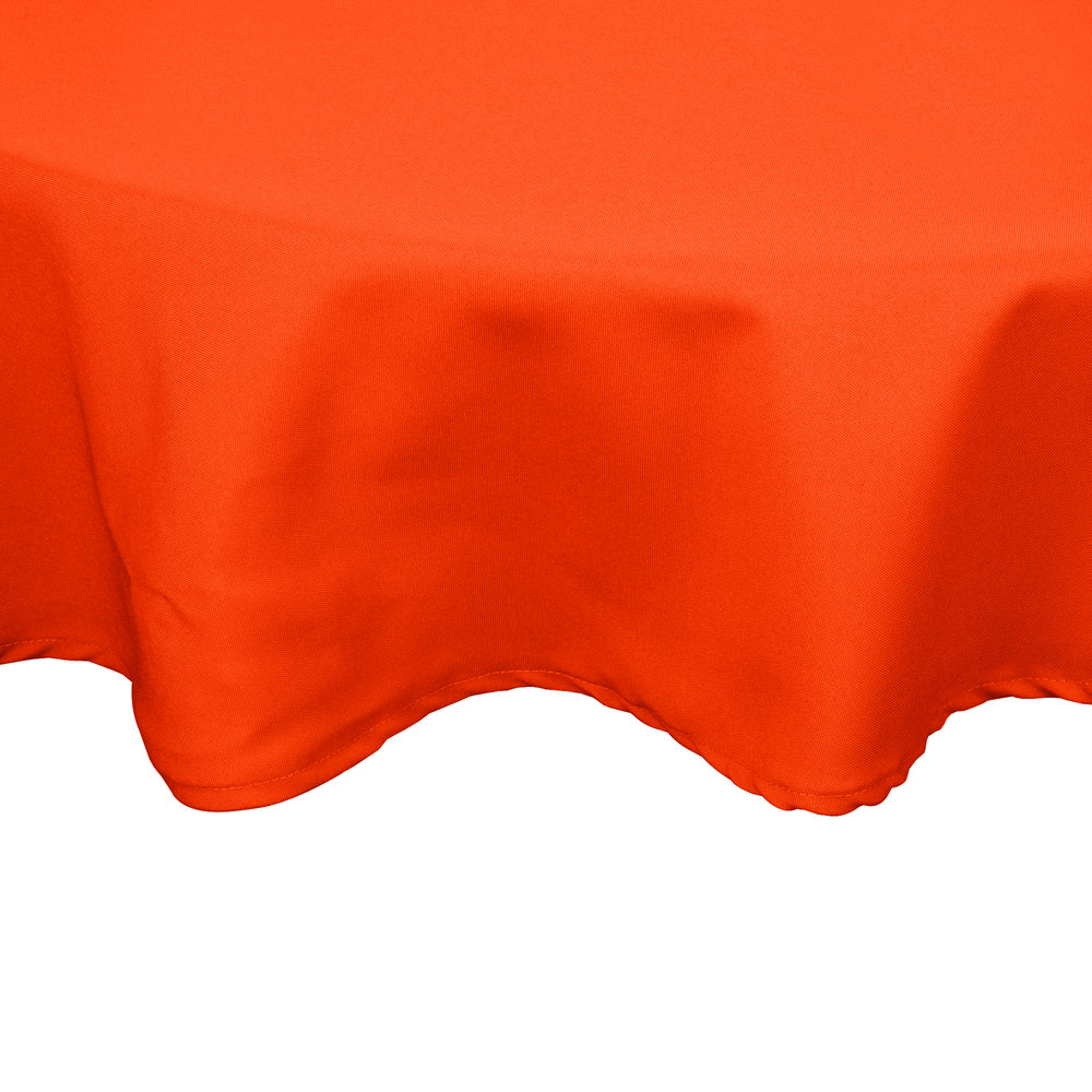 "54"" Orange Round Hemmed Polyspun Cloth Table Cover"