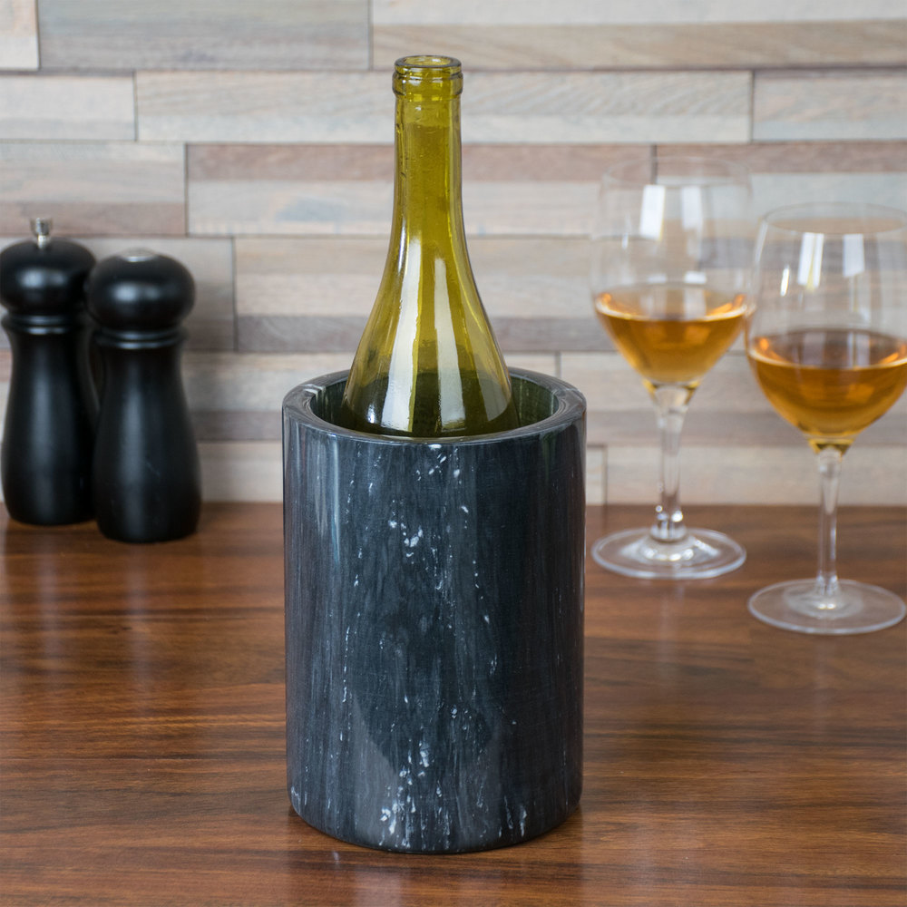 "American Metalcraft MWC59 Black Marble Wine Cooler - 7"" x 4"""