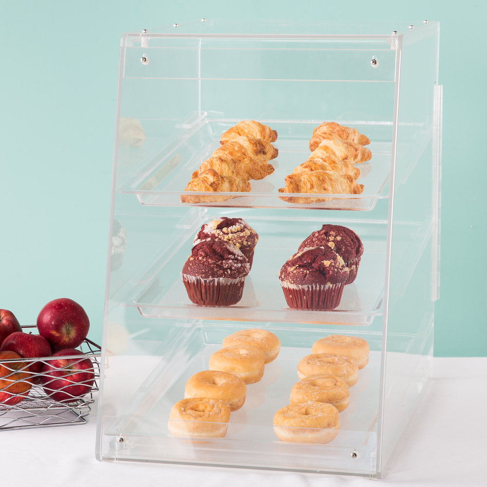 "Cal-Mil 941 Classic U-Build Three Tier Acrylic Display Case with Rear Door- 13 1/2"" x 22"" x 21"""