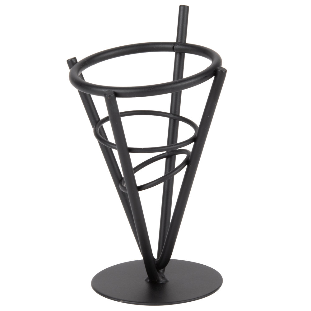 "American Metalcraft MFC1 Black Wrought Iron Cone Basket - 3 3/8"" x 6 1/4"""