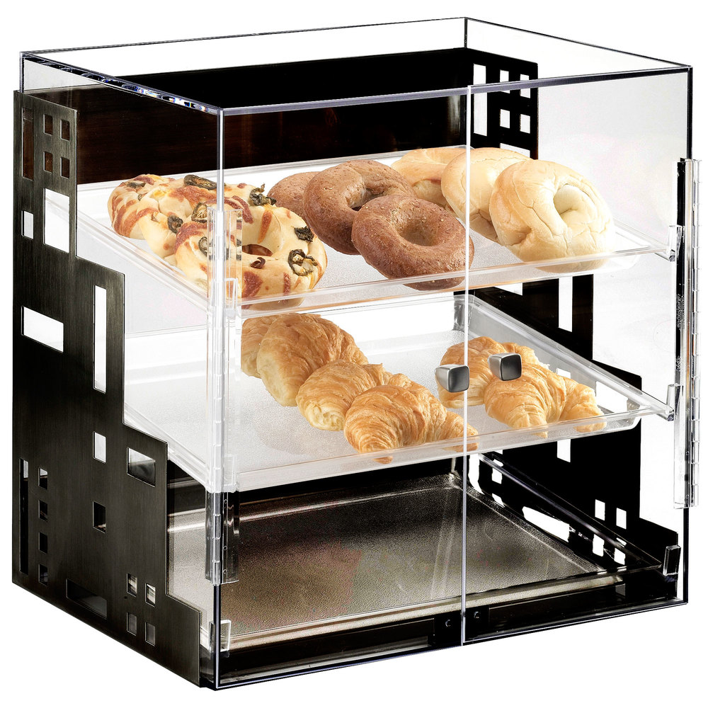 "Cal-Mil 1621-13 Squared Three Tier Black Display Case with Front Doors - 15"" x 13"" x 19"""