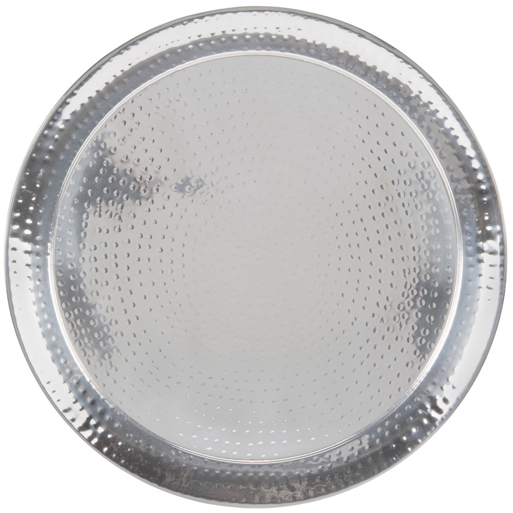 "American Metalcraft HMRST2201 22"" Round Hammered Stainless Steel Serving Tray"