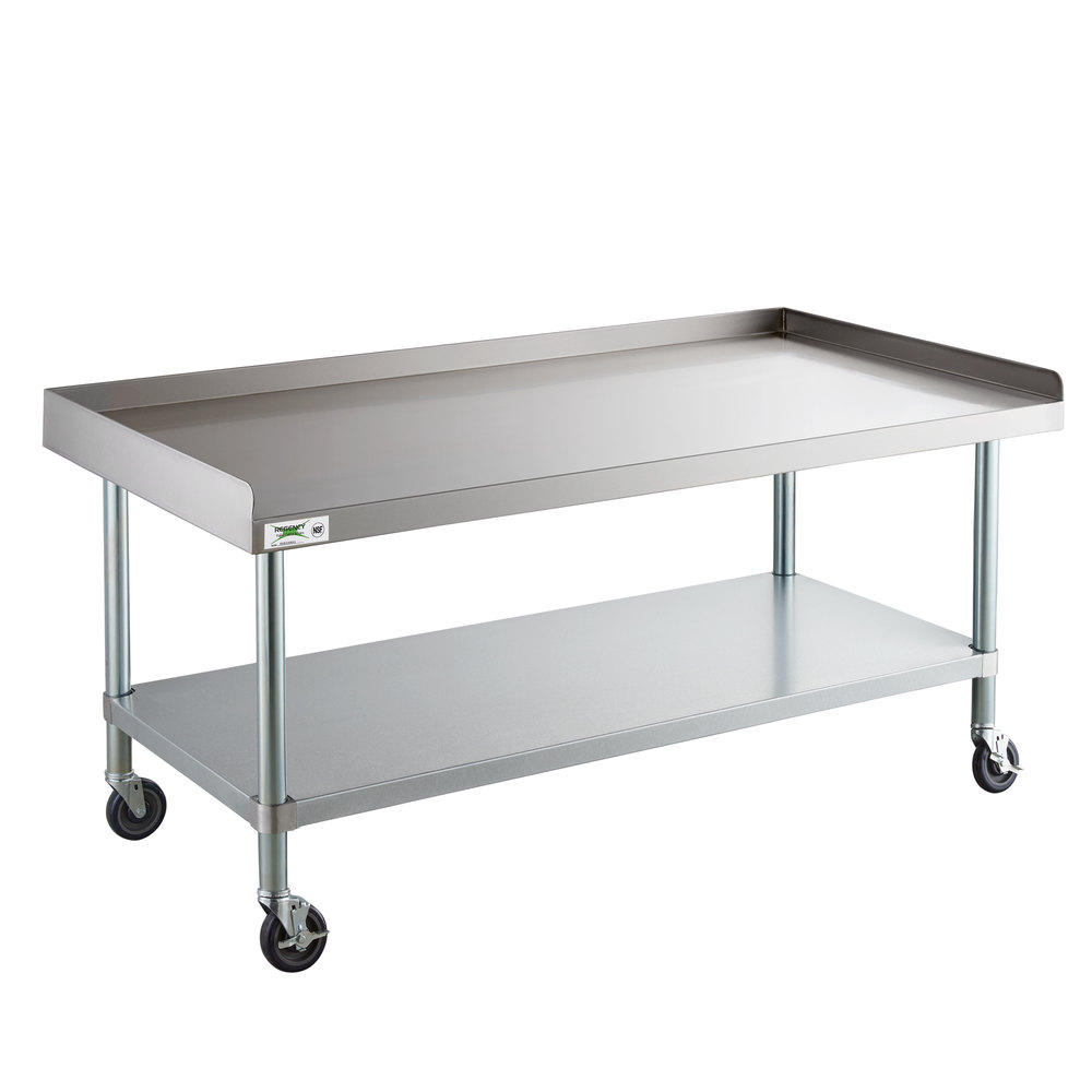 Regency 30 inch x 60 inch 16-Gauge 304 Stainless Steel Equipment Stand with Galvanized Legs, Undershelf, and Casters