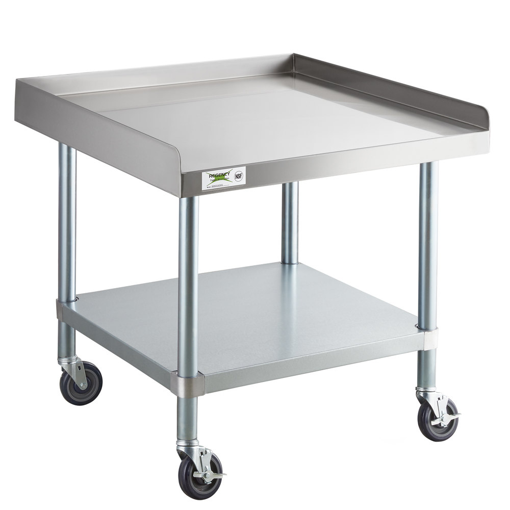 Regency 30 inch x 30 inch 16-Gauge 304 Stainless Steel Equipment Stand with Galvanized Legs, Undershelf, and Casters