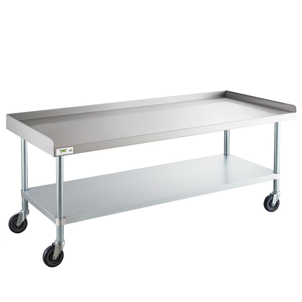Regency 30 inch x 72 inch 16-Gauge 304 Stainless Steel Equipment Stand with Galvanized Legs, Undershelf, and Casters