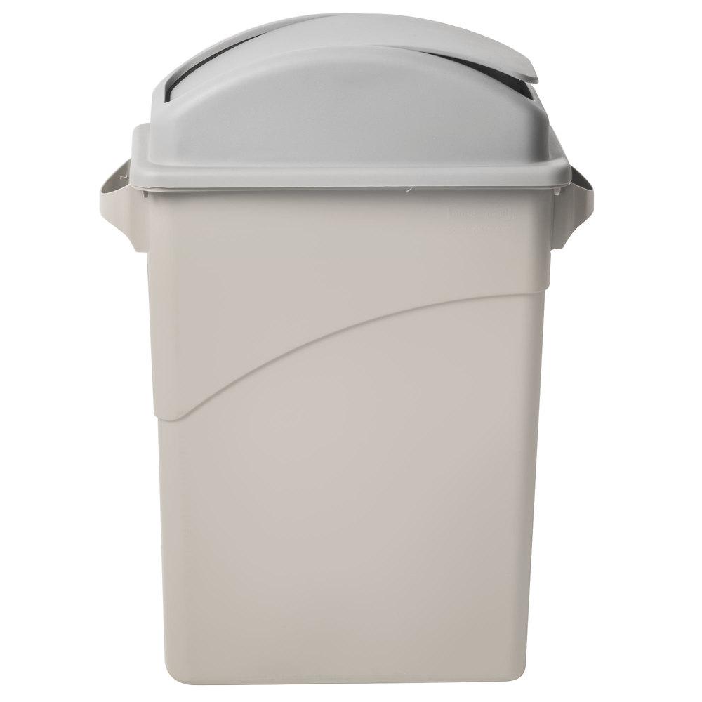 swing dome wall hugger slim jim trash can lid gray. Black Bedroom Furniture Sets. Home Design Ideas